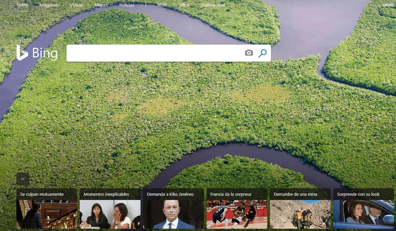 Interfaz de Bing