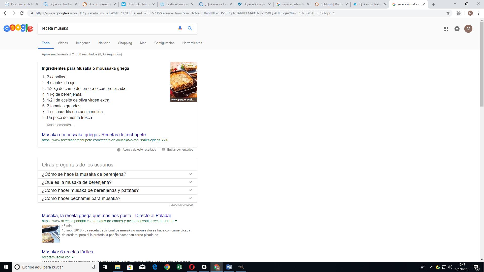 Fragmento destacado en Google